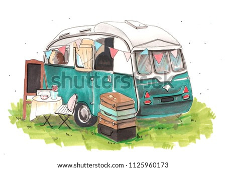 Hand drawn aquarelle colorful illustration. Watercolor artwork. Summer, travel trailer on camping parking. Vintage and old school. Hipster tourist on nature. Easel, table, chair, suitcases on grass.