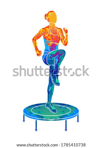 Abstract woman jumping on trampoline. Young fitness girl trains on a mini trampoline from splash of watercolors. Vector illustration of paints