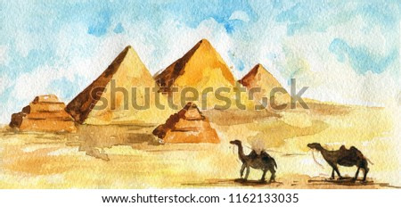 Egyptian pyramids in desert, two camels walking. Sand, blue sky with light clouds. Watercolor sketch.