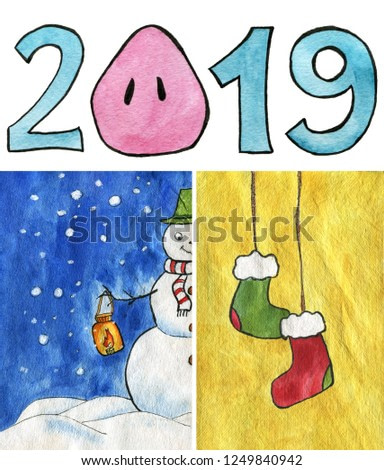 Triptych. Watercolor illustration. Happy snowman with a hat on and scarf, holding a lantern with burning candle. Blue sky, snowing, snow piles. Two Christmas stockings. 2019 with a pig's snout.