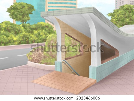 Old street underpass, a digital painting of landscape of public walkway tunnel exit and entrance in Taipei city, Taiwan raster 3D illustration anime background.