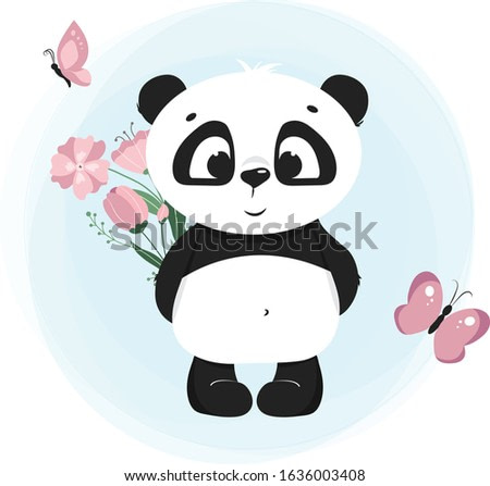 Vector illustration of a cute panda, smiling panda with flowers and butterfly, kid's pattern element