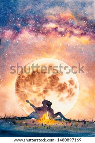 Watercolor Painting - Young man delivers his affection to a fantastic one by guitar under moon night