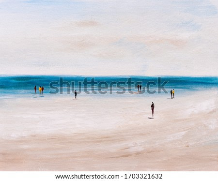 Oil Painting - Abstract View of People Relaxing On Beach