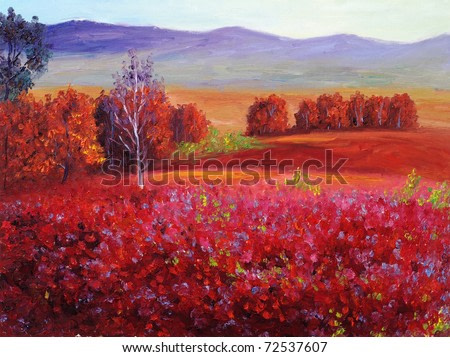 Oil Painting - Abstract Red Autumn
