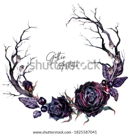 Watercolor Floral Gothic Wreath with Dry Branches and Black Roses Isolated on White. Botanical Halloween Illustration in Vintage Style. Gothic Wedding Decoration.
