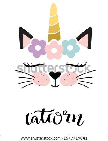 Catcorn. Lovely cartoon cat unicorn face and lettering text on white background. Cute vector for clothing print and children t-shirt for girl.