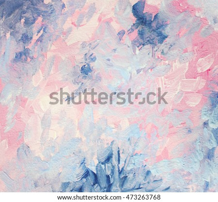 Abstract gouache painting. Dreamy, elegant and cheerful pink and blue abstraction. Hand painted.