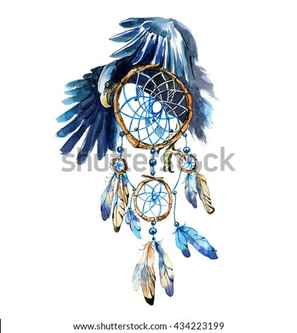 Hand drawn watercolor Dream catcher with eagle