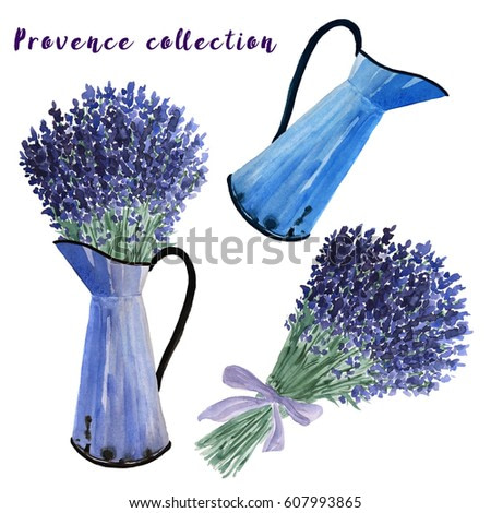 Watercolor provence collection - lavender bouquet and old fashioned blue pot