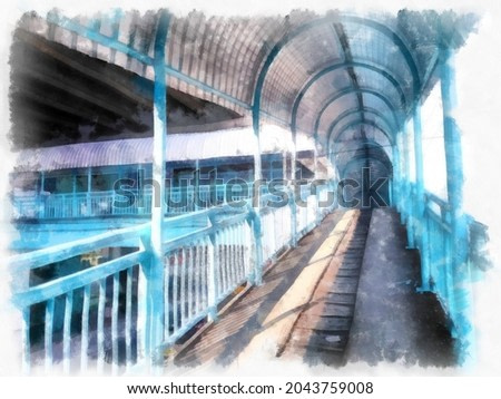 overpass watercolor style illustration impressionist painting.