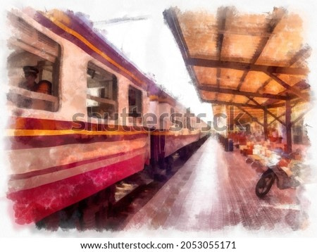 Thai train at the train station market watercolor style illustration impressionist painting.