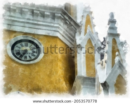 Ancient yellow christ church gothic architecture Illustrations watercolor style illustration impressionist painting.