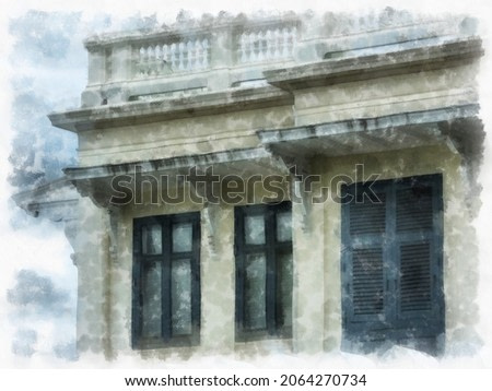 ancient building european architecture watercolor style illustration impressionist painting.