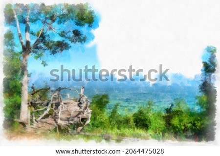 mountain landscape watercolor style illustration impressionist painting.