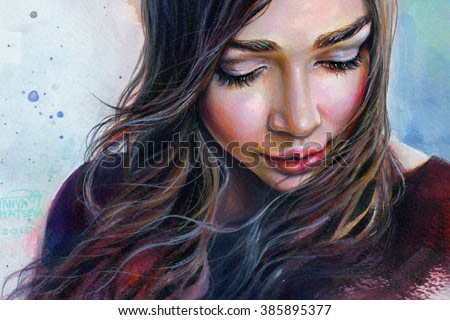 Colorful watercolor painting of a young beautiful girl with long hair looking down sad smiling on the sky background.