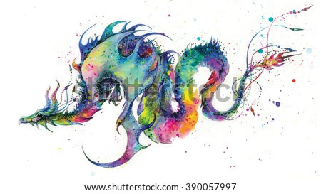 Very colorful and vibrant watercolor painting of rainbow dragon on white paper background