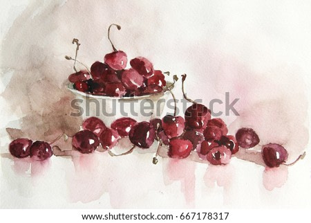 Watercolor still life flowers, dishes, fruit. Be used for design books, album, postcards, invitations. The picturesque quality of the image. Interior painting of a bedroom, bathroom, nursery, kitchen