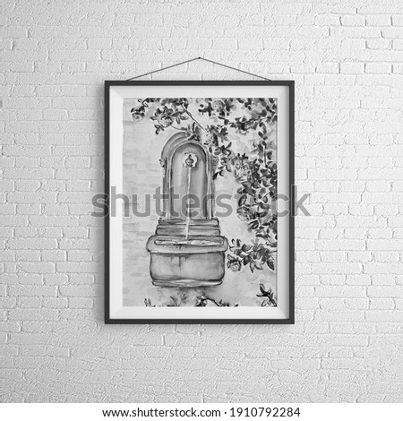 Watercolor painting of vintage art 3d illustration