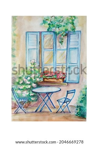 Watercolor painting of Vintage old sketch art illustration