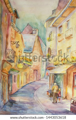 Landscape of an old street of Paris in impressionism styles. Watercolor painting. narrow street of the medieval city of France on a summer day