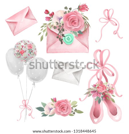 Watercolor illustrations ballet, ballerina theme - ballet shoes, envelopes (mails, letters), flowers and balloons