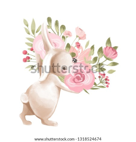 Cute watercolor baby bunny with flowers, floral wreath, bouquet