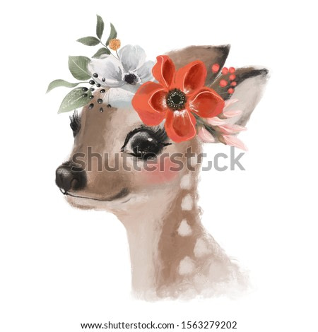 Cute hand drawn deer, fawn in floral wreath, flowers bouquet, woodland watercolor animal portrait
