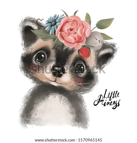 Cute hand drawn racoon in floral wreath, flowers bouquet, woodland watercolor animal portrait
