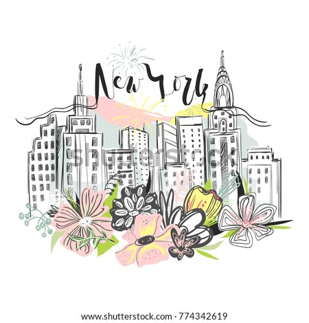 Beautiful New York skyscrapers, skyline with floral, flowers bouquet and fireworks. Hand drawn, vector watercolor, vintage style drawing