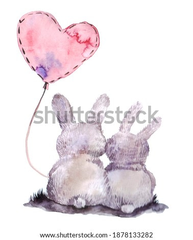 cute couple of bunnies on a white background. watercolor illustration for greeting card buy