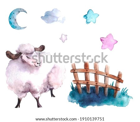 cute watercolor lamb on a neural background. illustration or print for a child in a nursery or bedroom. lunar series