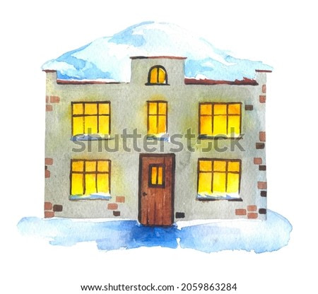 beautiful large gray two-story house with glowing windows in the snow on a neutral background. watercolor illustration