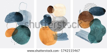 Abstract art background with watercolor stain elements vector. Painting brush texture decoration with art acrylic poster design.