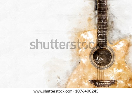 Abstract beautiful Guitar in the foreground on Watercolor painting background and Digital illustration brush to art.