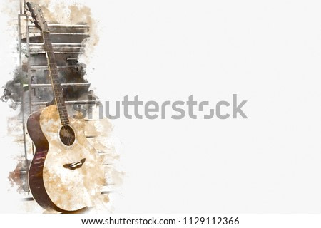 Abstract colorful Guitar in the foreground on Watercolor painting background and Digital illustration brush to art.