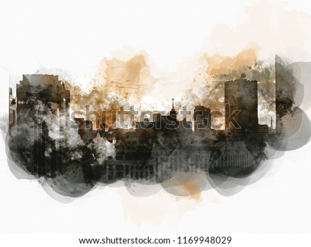 Abstract beautiful offices building in the capital watercolor illustration painting background.