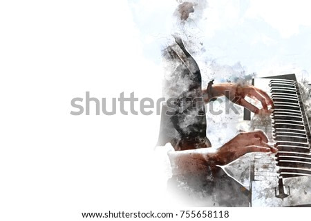 Abstract beautiful hand playing keyboard of the piano foreground Watercolor painting background and Digital illustration brush to art.