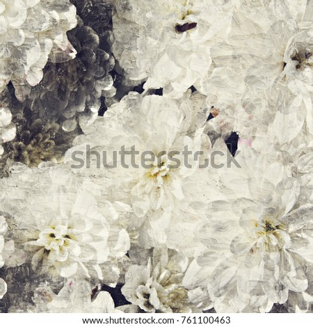 Abstract beautiful White flower blooming on oil painting background, Digital picture convert to art.