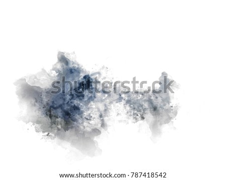 Abstract Colorful mountain peak on watercolor painting background.