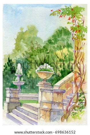 Italian courtyard. The old town.Chersonese of Taurida. Crimea. Sevastopol. Flowers, fountain. Watercolor, crayons, color pencils