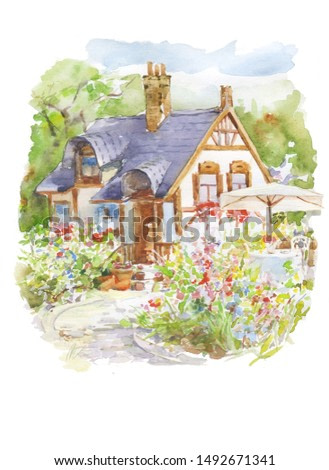 beautiful country house in flower garden