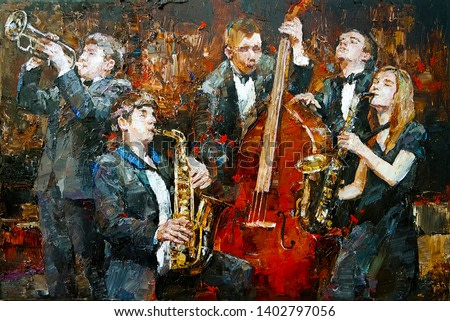 Stylish jazz band playing music on the scene, background is brown. Palette knife technique of oil painting and brush.