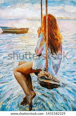 Young red-haired girl riding on a swing and watching the sunset by the ocean. In the background floats fishing boat. The peaceful landscape, created with brush strokes, oil painting on canvas.