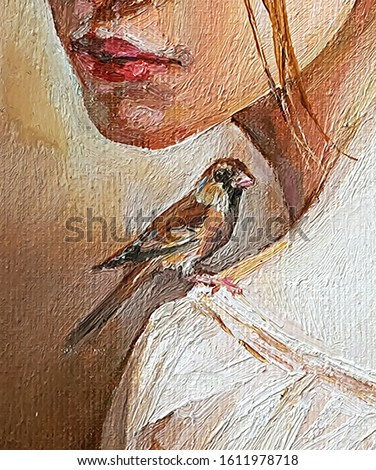 A small beautiful bird goldfinch is sitting on the shoulder of a young girl. Created in detailed and with brush strokes. Oil painting on canvas.