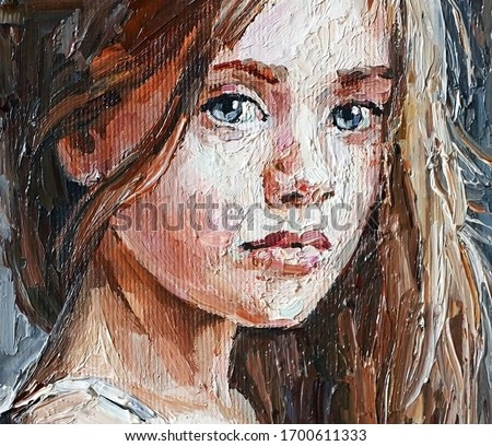 Pensive little girl with beautiful gray eyes and long hair. Created in the expressive manner with brush strokes, oil painting on canvas.