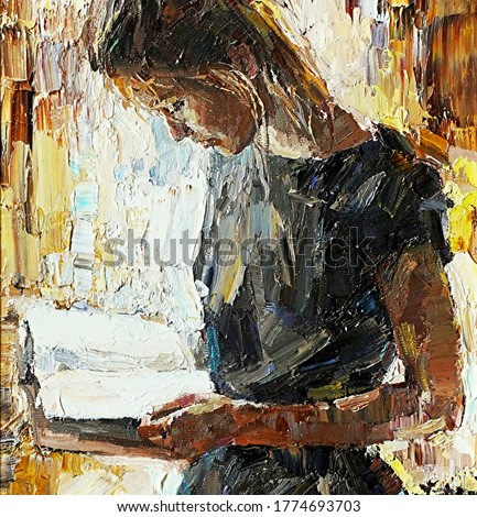 Young girl reading book. Oil painting.
