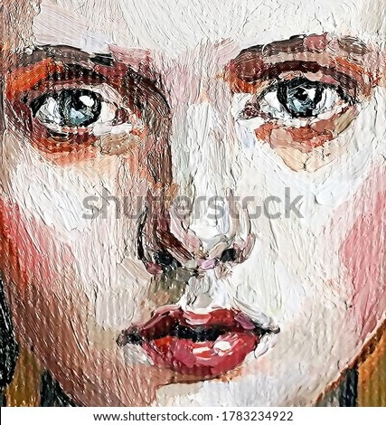 Portrait of young beautiful brown-haired girl with grey eyes on a golden background. Oil painting on canvas.