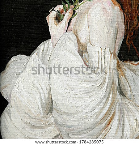 Medieval angel. Lovely girl with an olive branch in her hand in the rays of cold distant light on a dark mysterious background. Oil painting.