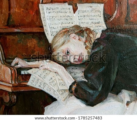 The beautiful girl was a little tired after playing the piano. Created in details and color nuances, oil painting on canvas.